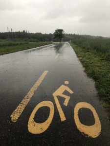 cycling symbol on a rainy day